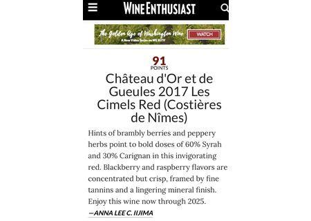 Wine Enthusiast : Cimel rouge 91/100
