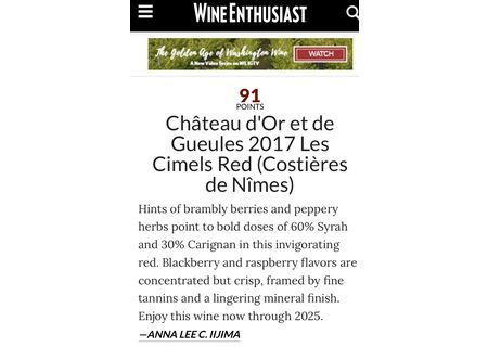 Wine Enthusiast : Cimel rouge 91/100